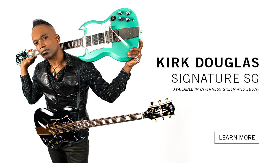 Kirk Douglas with his signature sg in inverness green and ebony finishes
