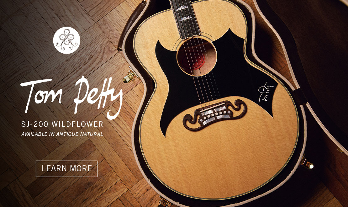 A close-up of the new Gibson Tom Petty SJ-200 'Wildflower' in an open guitar case. The all new Gibson Tom Petty SJ-200 'Wildflower' is the latest addition to our Gibson Artist collection. Learn more by clicking here.