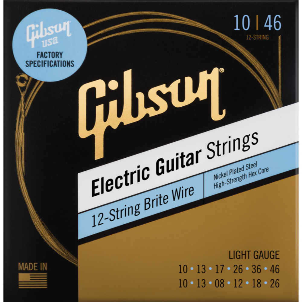 Brite Wire Electric Guitar Strings, 12-String Set